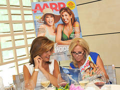 kathie lee gifford and hoda kotb strip down to swimsuits and wine goggles for 'aarp the magazine
